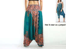 Load image into Gallery viewer, Women Yoga Jumpsuit Harem Pants - Green Mandala