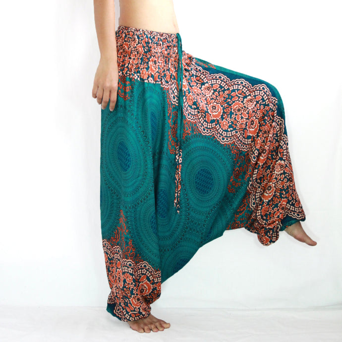 Women Yoga Jumpsuit Harem Pants - Green Mandala