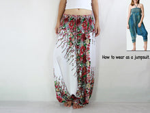 Load image into Gallery viewer, Women Yoga Jumpsuit Harem Pants - White Floral