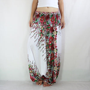 Women Yoga Jumpsuit Harem Pants - White Floral