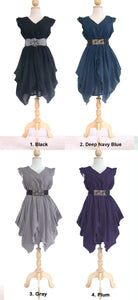 Women V-Neck Layered Dress Cotton Mini Dress