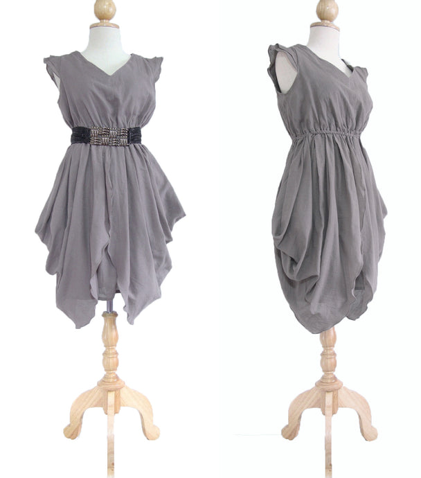 Gray Layered Dress Mini Dress Knee Length