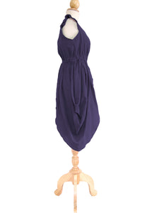 Women Purple Plum Mini Dress V-Neck Layered Dress