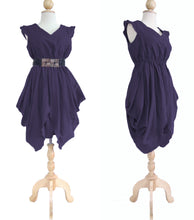 Load image into Gallery viewer, Women Purple Plum Mini Dress V-Neck Layered Dress