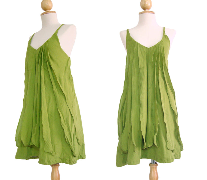 Women Green Spaghetti Strap Cotton Ruffles Dress