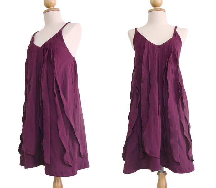 Women Burgundy Spaghetti Strap Ruffles Dress V-neck