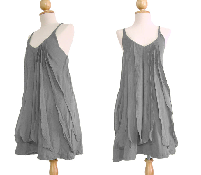 Women Gray Spaghetti Strap Ruffles Dress
