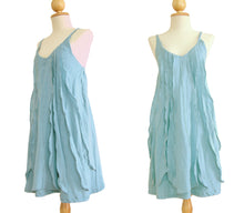 Load image into Gallery viewer, Women Light Blue Spaghetti Strap Dress Ruffles Dress