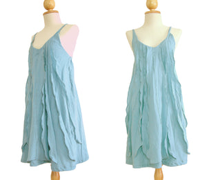 Women Light Blue Spaghetti Strap Dress Ruffles Dress