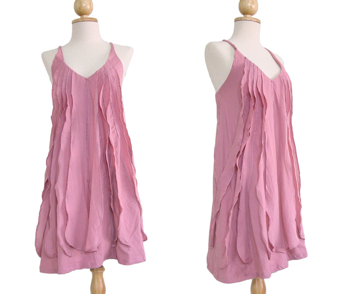 Women Pink Spaghetti Strap Ruffles Dress