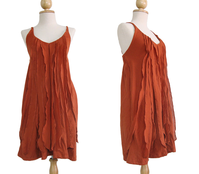 Spaghetti Strap Mini Dress Ruffles Dress in Orange