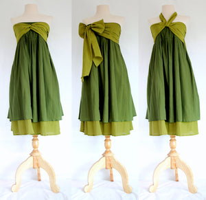 Women Convertible Bow Front Bridesmaid Dresses - Green