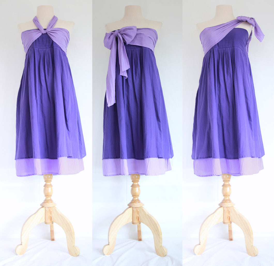 Convertible Summer Bridesmaid Dresses Bandeau Dress - Violet