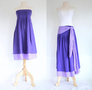 Purple Violet Convertible Bridesmaid Mini Dress Summer