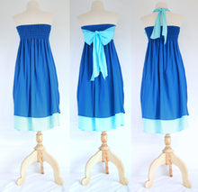 Load image into Gallery viewer, Convertible Beach Bridesmaid Dresses Bandeau Dress - Blue