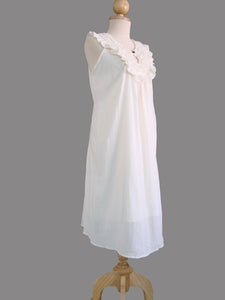 Ivory Off White Ruffle Neck Dress