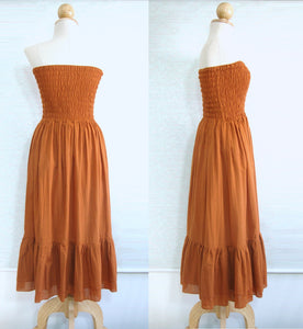 Pumpkin Orange Strapless Tiered Smocked Dress