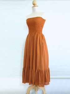 Convertible Dress Strapless Tiered Smocked Dress - Orange