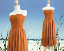 Load image into Gallery viewer, Convertible Dress Strapless Tiered Smocked Dress - Orange
