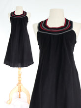 Load image into Gallery viewer, Women Black Cotton Bib Neck Shift Dress