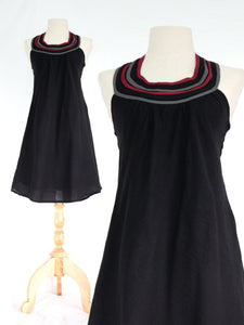 Women Black Cotton Bib Neck Shift Dress
