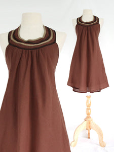 Women Brown Cotton Dress Bib Neck Shift Dress