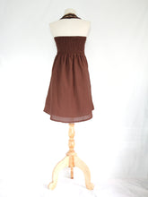 Load image into Gallery viewer, Women Brown Cotton Dress Bib Neck Shift Dress
