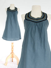 Load image into Gallery viewer, Women Blue Cotton Bib Neck Shift Dress Blue