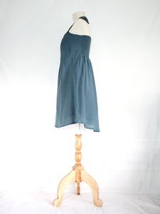 Women Blue Cotton Bib Neck Shift Dress Blue