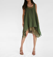 Load image into Gallery viewer, Convertible Double Layer Dresses Cotton - Olive Green