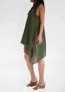 Convertible Double Layer Dresses Cotton - Olive Green