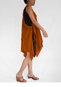 Summer Cotton Double Layer Dresses - Orange