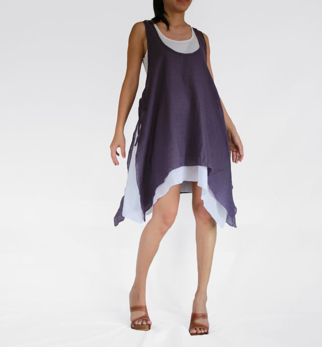 Women Convertible Summer Double Layer Dress - Plum Purple