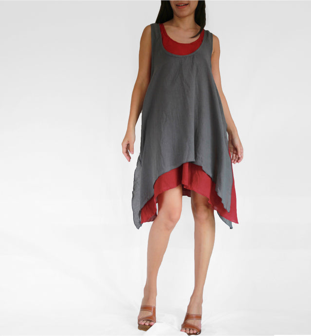 Summer Cotton Double Layer Dresses - Gray
