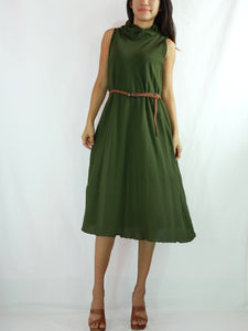 Green Casual Dress Cotton Sleeveless Turtleneck Dress