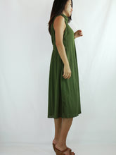Load image into Gallery viewer, Green Casual Dress Cotton Sleeveless Turtleneck Dress