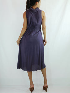 Loose Fit Purple Cotton Sleeveless Turtleneck Dress