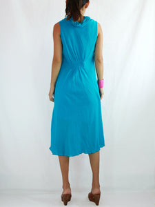 Loose Fit Sleeveless Turtleneck Dress in Turquoise Blue