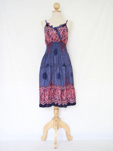 Mandala Blue Spaghetti Strap Mini Dress