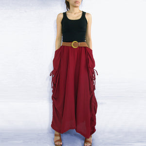 Women Lagenlook Red Cotton Maxi Skirt with Big Pockets