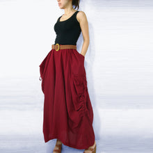 Load image into Gallery viewer, Women Lagenlook Red Cotton Maxi Skirt with Big Pockets