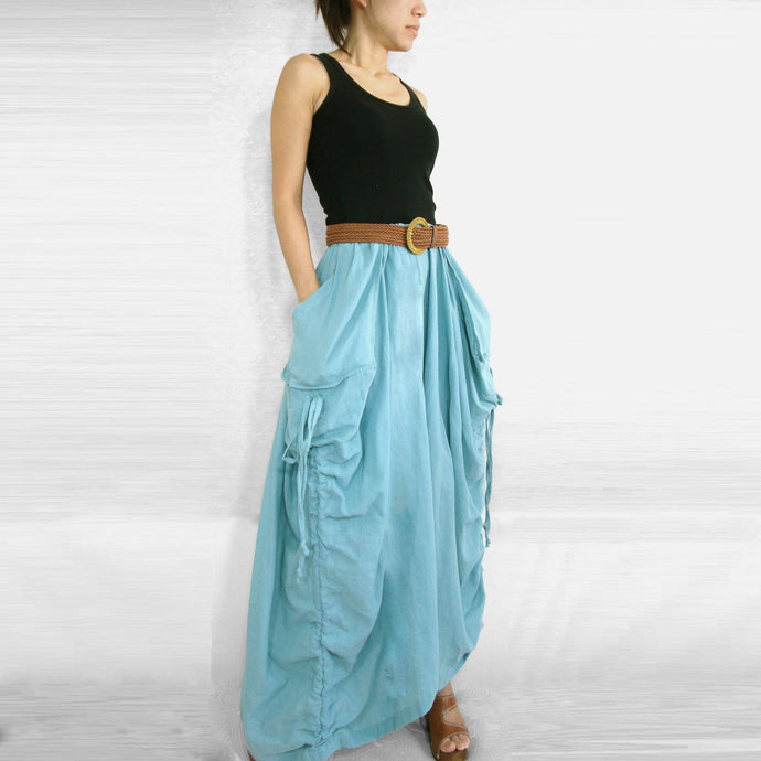 Women Lagenlook Maxi Skirt with Big Pockets - Light Blue