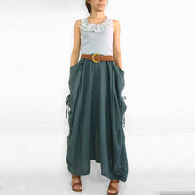 Load image into Gallery viewer, Women Lagenlook Gray Cotton Maxi Skirt with Big Pockets
