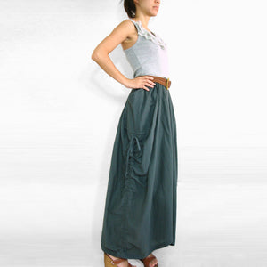Women Lagenlook Gray Cotton Maxi Skirt with Big Pockets