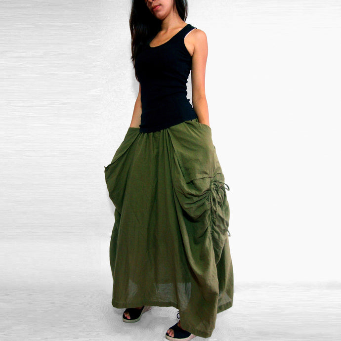 Lagenlook Maxi Skirt Big Pockets Long Skirt in Olive Army Green
