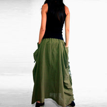 Load image into Gallery viewer, Lagenlook Maxi Skirt Big Pockets Long Skirt in Olive Army Green