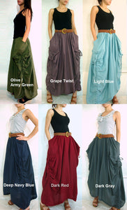 Women Lagenlook Cotton Maxi Skirt with Big Pockets