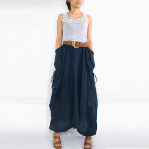 Women Navy Blue Cotton Lagenlook Maxi Skirt with Big Pockets