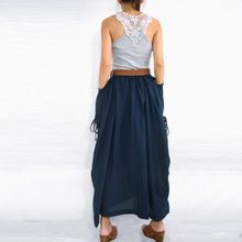 Load image into Gallery viewer, Women Navy Blue Cotton Lagenlook Maxi Skirt with Big Pockets