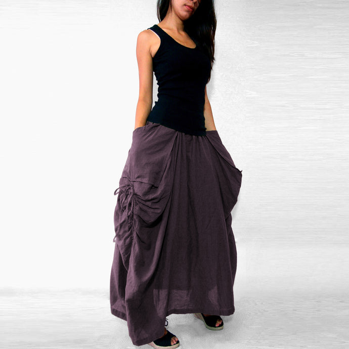 Women Lagenlook Maxi Skirt with Big Pockets - Purple
